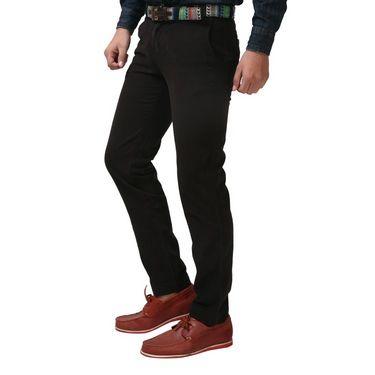 ShopperTree Slim Fit Poly Cotton Trouser For Men _st1404 - Black
