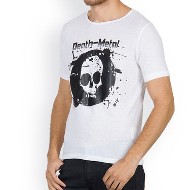 Incynk Half Sleeves Printed Cotton Tshirt For Men_Mht204wht - White