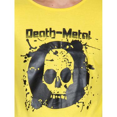 Incynk Half Sleeves Printed Cotton Tshirt For Men_Mht204yl - Yellow