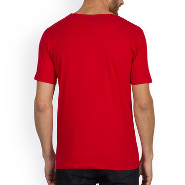 Incynk Half Sleeves Printed Cotton Tshirt For Men_Mht206r - Red