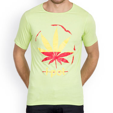 Incynk Half Sleeves Printed Cotton Tshirt For Men_Mht210p - Pista