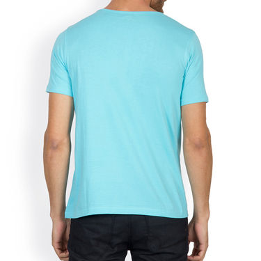 Incynk Half Sleeves Printed Cotton Tshirt For Men_Mht212aq - Aqua