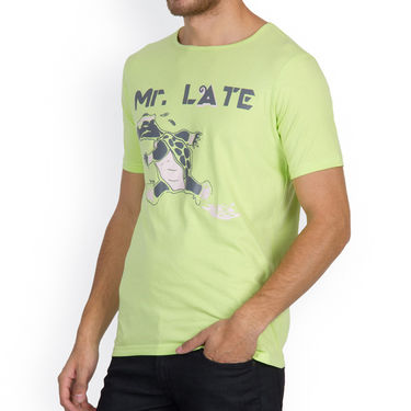 Incynk Half Sleeves Printed Cotton Tshirt For Men_Mht212p - Pista
