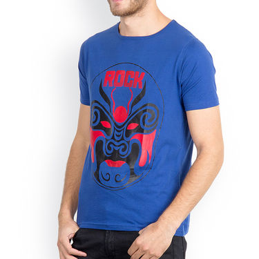 Incynk Half Sleeves Printed Cotton Tshirt For Men_Mht214b - Blue