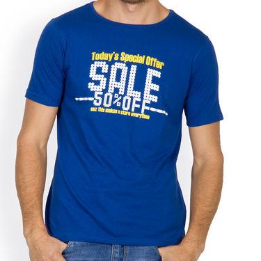 Incynk Half Sleeves Printed Cotton Tshirt For Men_Mht215b - Blue