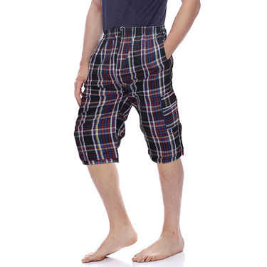 Delhi Seven Cotton Checks Capri For Men_D7Cg03 - Multicolor