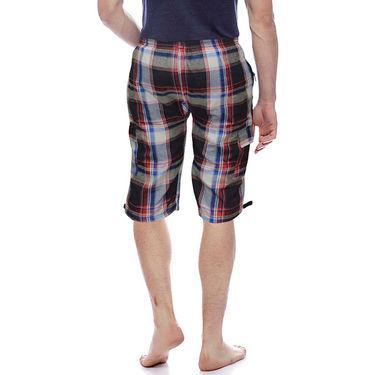 Delhi Seven Cotton Checks Capri For Men_D7Cg08 - Multicolor
