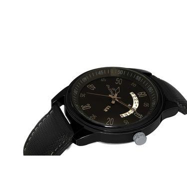 Dezine Round Dial Leather Wrist Watch For Men_1013blkblk - Black