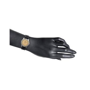 Dezine Round Dial Leather Wrist Watch For Men_057gldblk - Gold