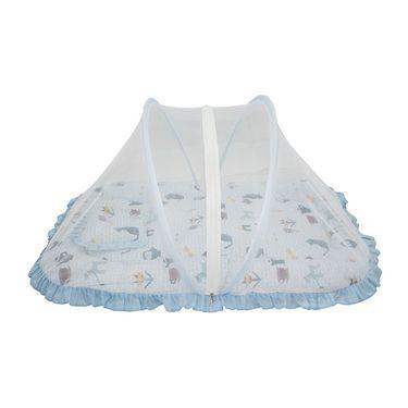 Wonderkids Blue Multi Print Baby Bedding Set With Mosquito Net_MW-182-BPBMS