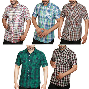 Pack of 5 Sparrow Clothings Cotton Checks Shirts_wjc502 - Multicolor