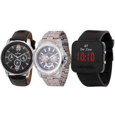 Pack of 3 Dezine Round & Digital Dial Watches_r909040led