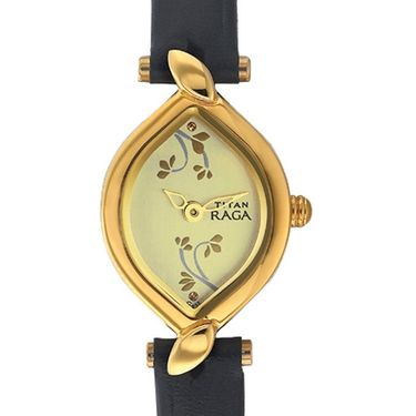 Titan Analog Flower Shape Dial Watch_2455yl02 - Light Gold
