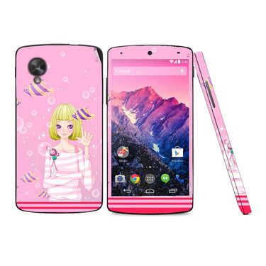 Snooky 39168 Digital Print Mobile Skin Sticker For LG Google Nexus 5 - Pink
