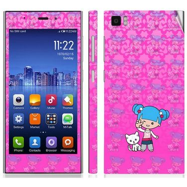 Snooky 39195 Digital Print Mobile Skin Sticker For Xiaomi Mi3 - Pink