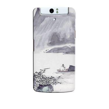 Snooky 36715 Digital Print Hard Back Case Cover For Oppo N1 - Grey