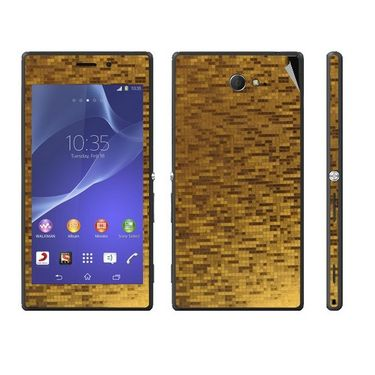 Snooky 18772 Mobile Skin Sticker For Sony Xperia M2 - Gold