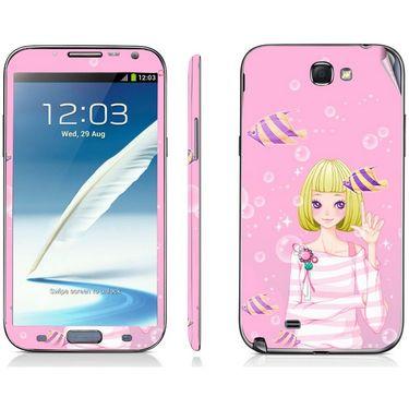 Snooky 39468 Digital Print Mobile Skin Sticker For Samsung Galaxy Note 2 N7100 - Pink