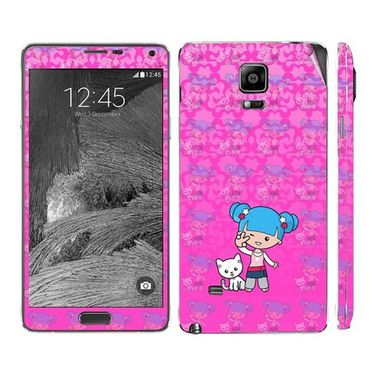 Snooky 39495 Digital Print Mobile Skin Sticker For Samsung Galaxy Note 4 - Pink