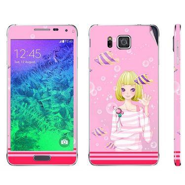 Snooky 39588 Digital Print Mobile Skin Sticker For Samsung Galaxy Alpha - Pink