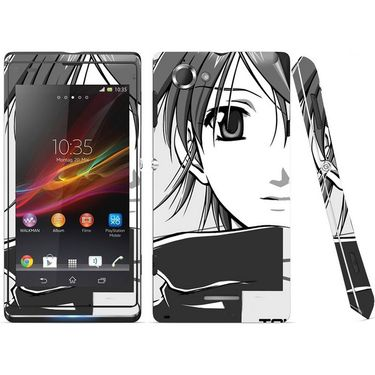 Snooky 39674 Digital Print Mobile Skin Sticker For Sony Xperia L S36h C2105 - Grey