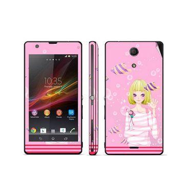 Snooky 39816 Digital Print Mobile Skin Sticker For Sony Xperia ZR - Pink