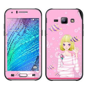 Snooky 41883 Digital Print Mobile Skin Sticker For Samsung Galaxy J1 - Pink