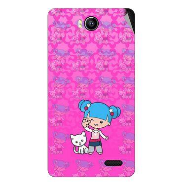 Snooky 41912 Digital Print Mobile Skin Sticker For Intex Aqua 4.5e - Pink