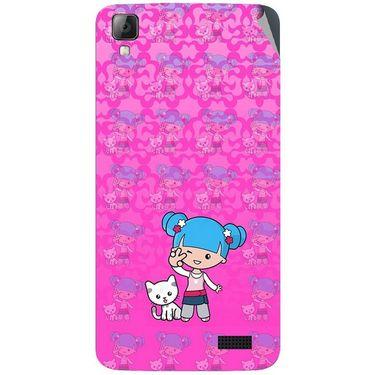 Snooky 42077 Digital Print Mobile Skin Sticker For Intex Aqua N7 - Pink