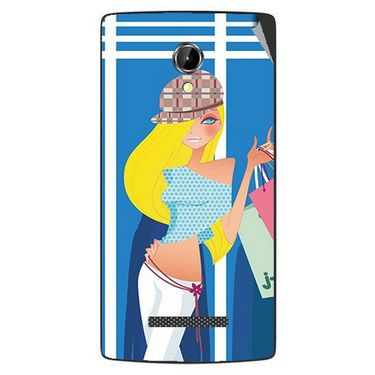 Snooky 42080 Digital Print Mobile Skin Sticker For Intex Aqua N8 - Blue