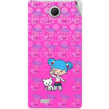 Snooky 42099 Digital Print Mobile Skin Sticker For Intex Aqua N17 - Pink
