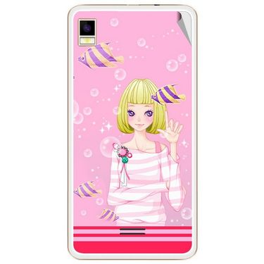 Snooky 42169 Digital Print Mobile Skin Sticker For Intex Aqua Star 5.0 - Pink