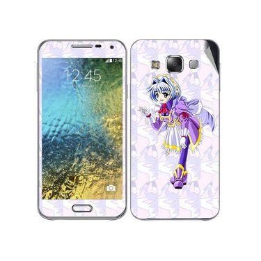 Snooky 48297 Digital Print Mobile Skin Sticker For Samsung Galaxy E7 - Purple