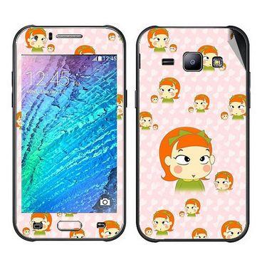Snooky 48337 Digital Print Mobile Skin Sticker For Samsung Galaxy J1 - Orange