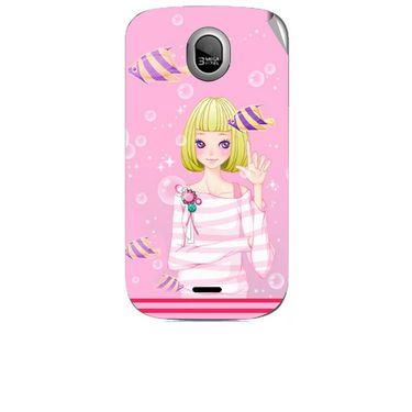 Snooky 42455 Digital Print Mobile Skin Sticker For Micromax Ninja A89 - Pink