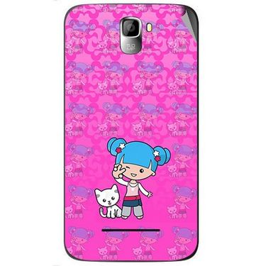 Snooky 42594 Digital Print Mobile Skin Sticker For Micromax Canvas Entice A105 - Pink
