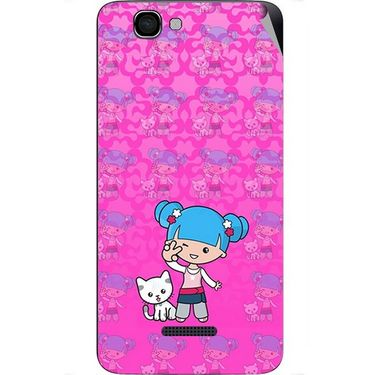 Snooky 42671 Digital Print Mobile Skin Sticker For Micromax Canvas 2 Colours A120 - Pink