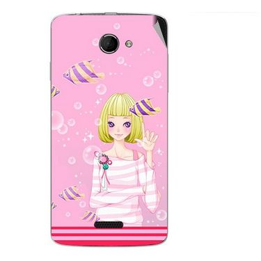 Snooky 42675 Digital Print Mobile Skin Sticker For Micromax Canvas Elanza 2 A121 - Pink