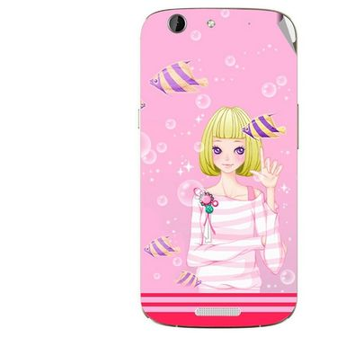 Snooky 42741 Digital Print Mobile Skin Sticker For Micromax Canvas A300 - Pink