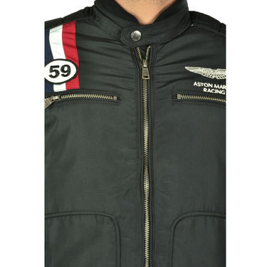 Branded Quilted Leather Jacket_Os19 - Black