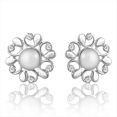 Mahi Rhodium Plated Swarovski Zirconia Pearl Pendant Set_Nl3101007c