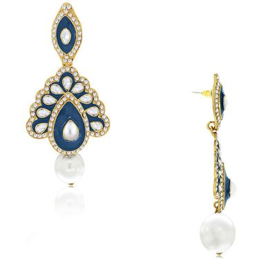 Spargz Enamel Earring with Diamond and Pearl_Aier172 - Blue