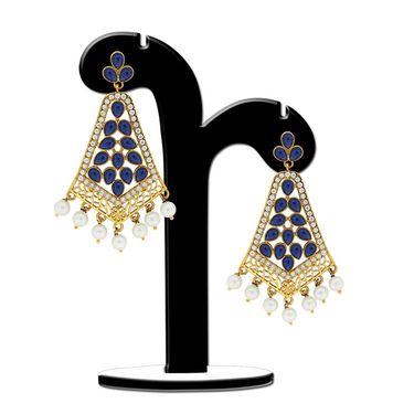 Spargz Pearl Drop Blue Earring_Aier327 - Blue & White