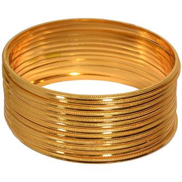 Pourni Brass 12 Gold Plated Bangles Set _Prbg02