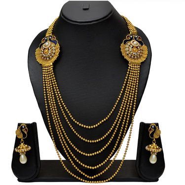Pourni Peacock Traditional Rani Har Long Necklace Set with Stunning Earring_Prnk14