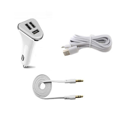 Combo of Flashmob Premium 3 Port 2.1Amp Car Charger,Premium Data Transfer & Charging Cable With Premium Aux Cable - White