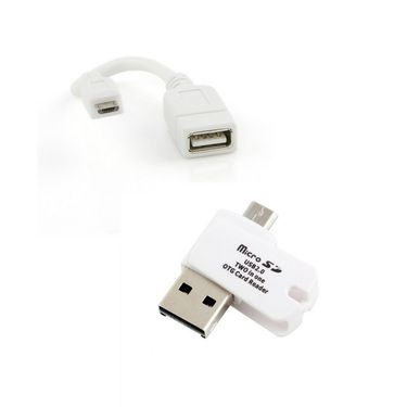 Combo of Flashmob Basic OTG Cable With Premium OTG Micro SD card reader - White