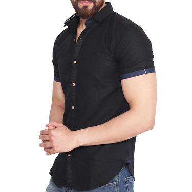 Branded Linen Casual Shirt_Zara01 - Black