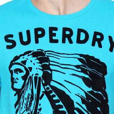 Branded Cotton Casual Tshirt_Sd07 - Sky Blue & Black