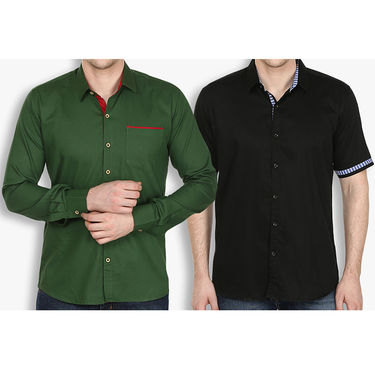 Pack of 2 Stylox Cotton Shirts_2534 - Olive Green & Black